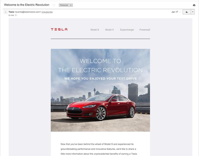 Tesla email engagement