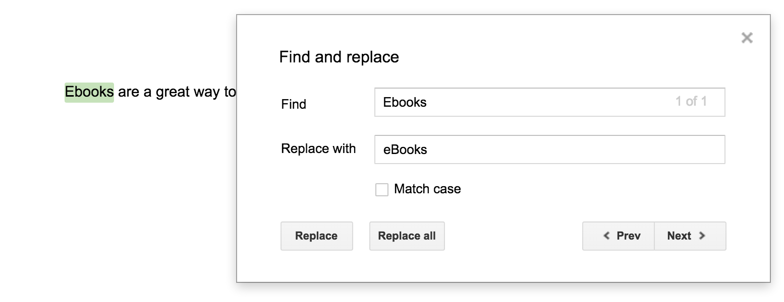 Find and replace Google Docs