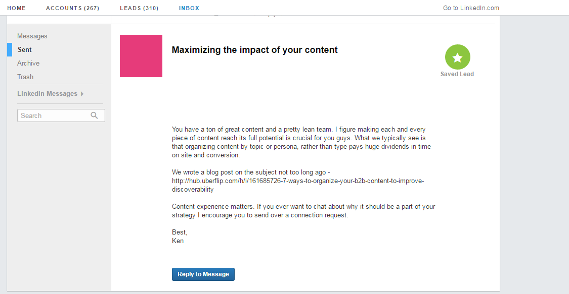 LinkedIn social selling email
