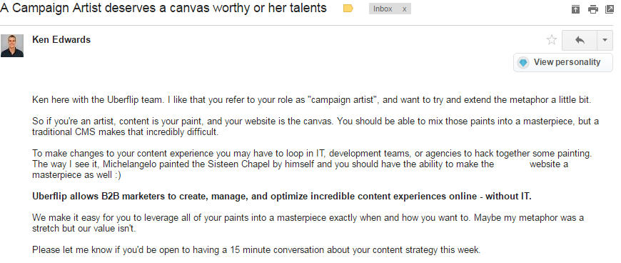 email with personalized content
