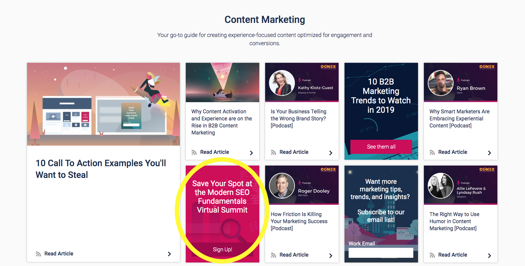 Collection of content with webinar sign-up CTA circled