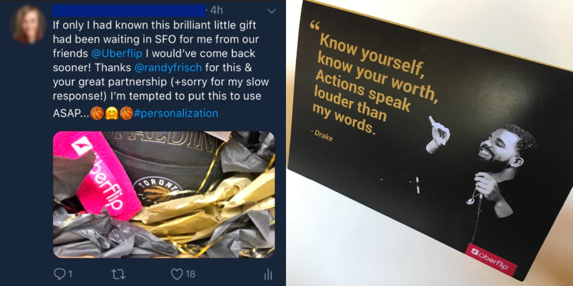 Tweet from a prospect thanking Uberflip for her ABM gift, including a photo of her personalized card with Drake lyrics on it