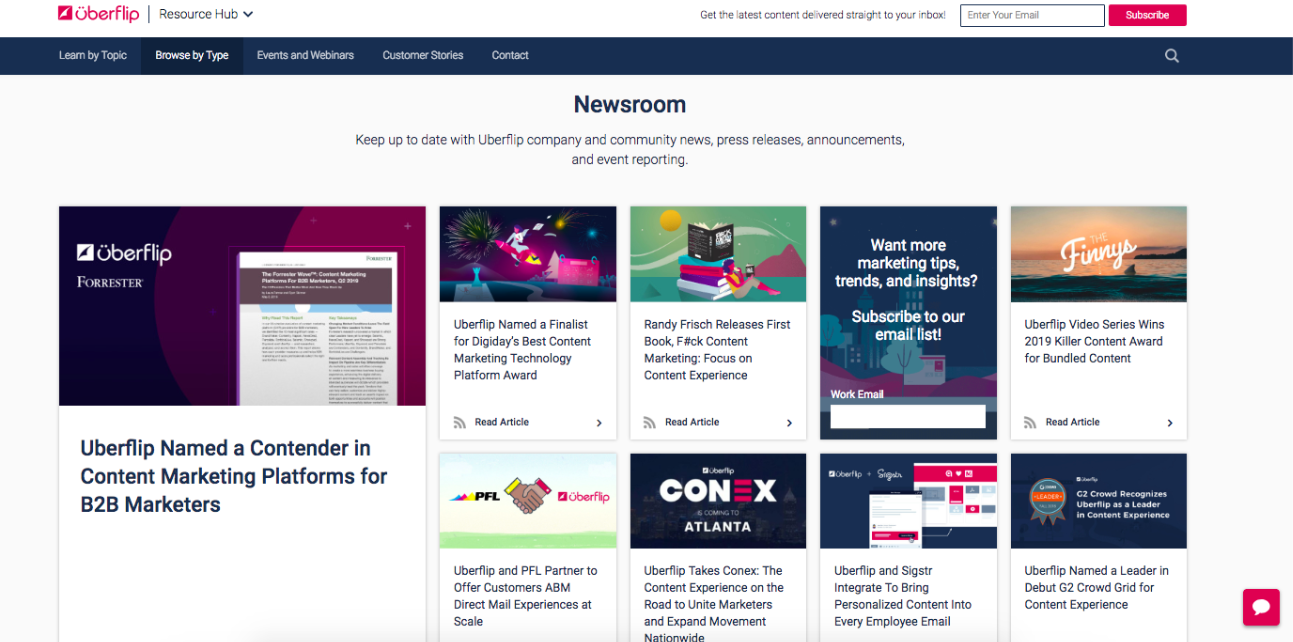 Uberflip's newsroom stream in their content hub