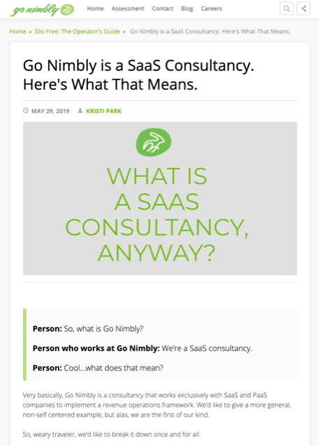 "Screenshot of blog post titled ""Go Nimbly is a Saas Consultancy. Here's What That Means."""