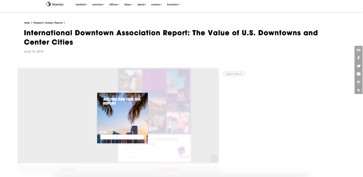 Report gated with an overlay CTA