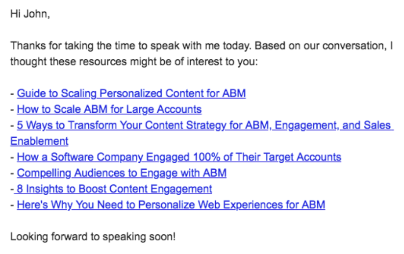Screenshot of sales follow-up email with several hyperlinks