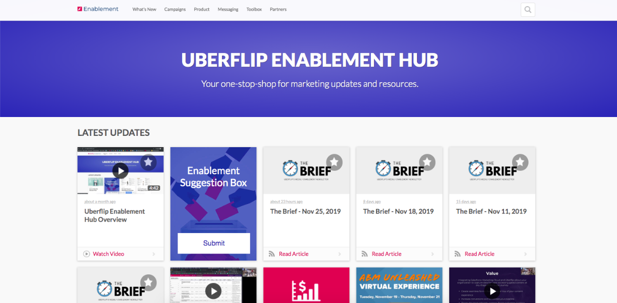 Uberflip's Enabelement Hub; a collection of content tiles on a webpage