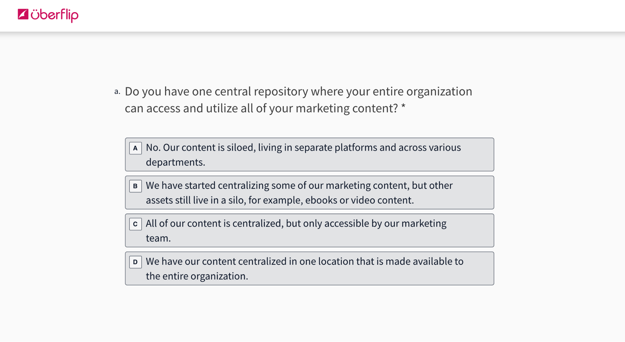 Depiction of Content Experience Maturity Assessment question on a webpage