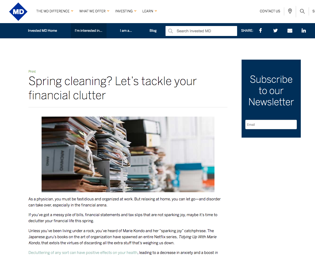 A photo of an article on MD Financial's blog with a CTA to subscribe to the newsletter
