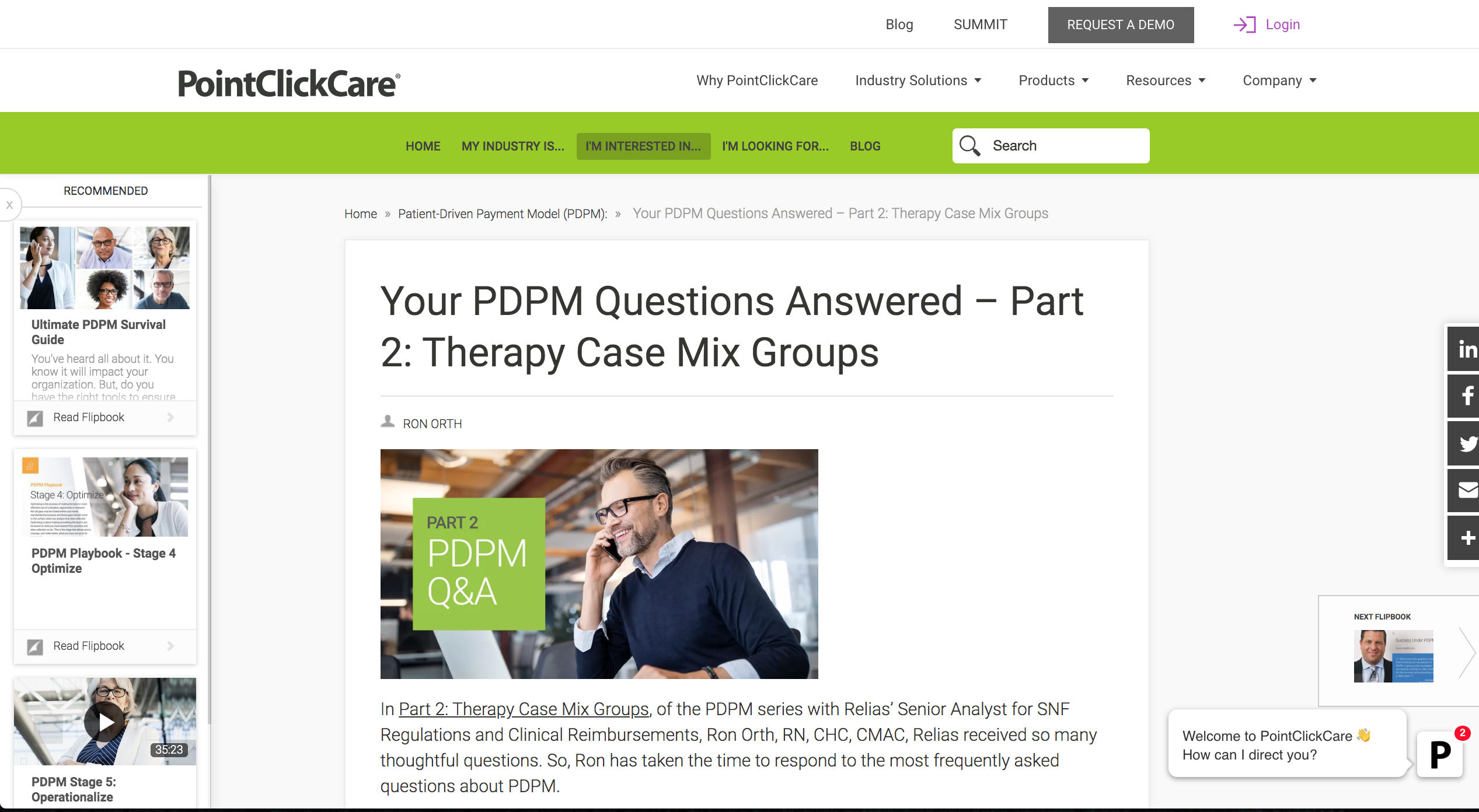 Blog post on PointClickCare's Resource Hub