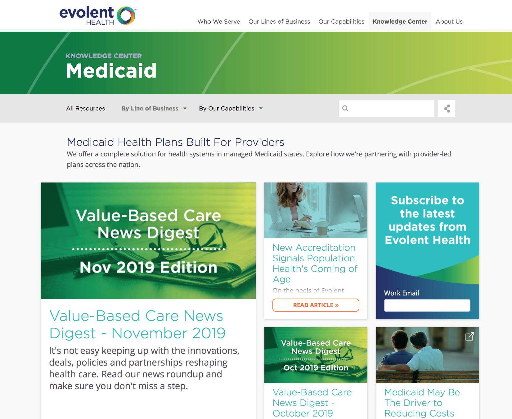Evolent Health content hub