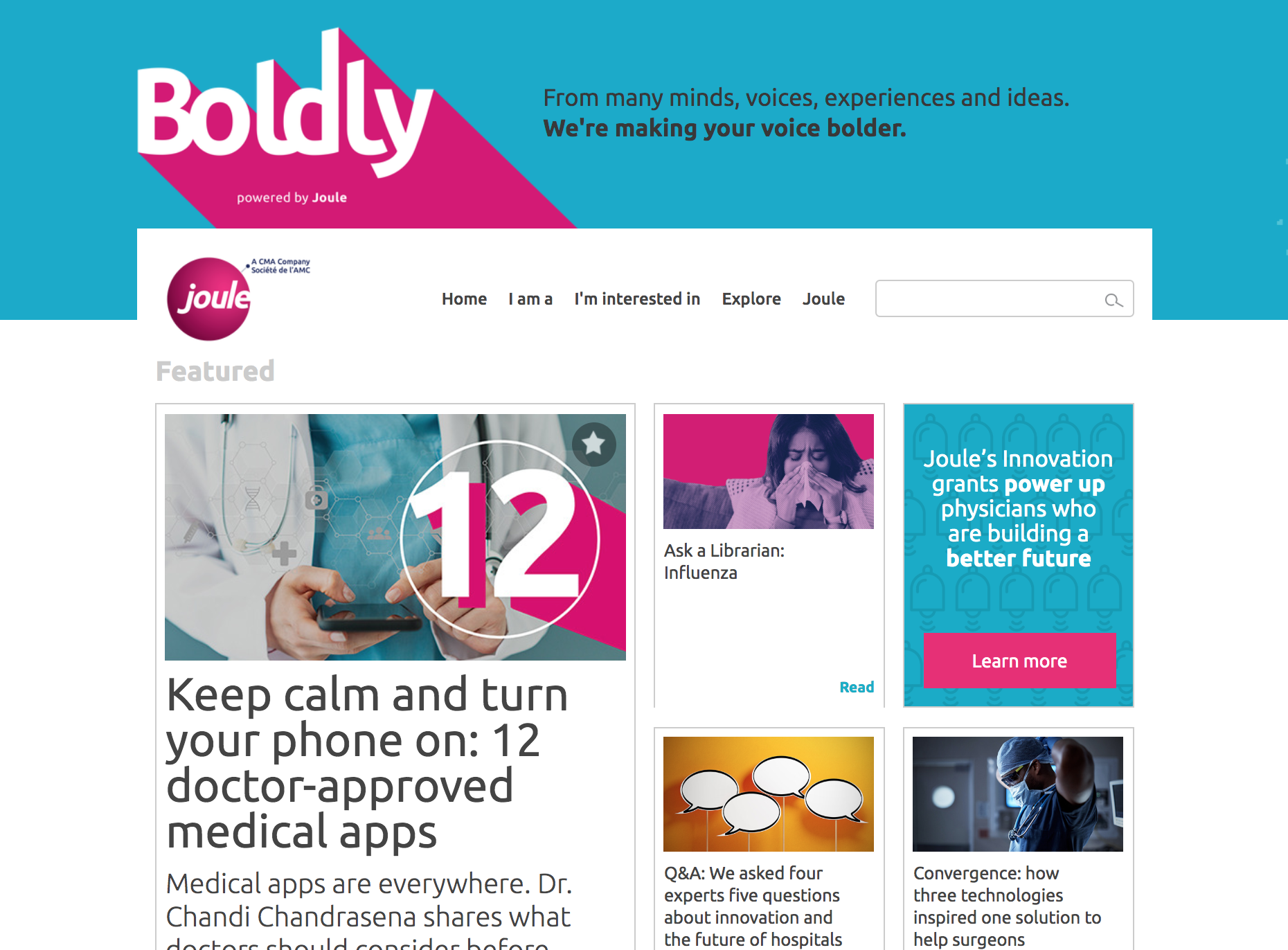 "Joule's ""Boldly"" thought-leadership hub"