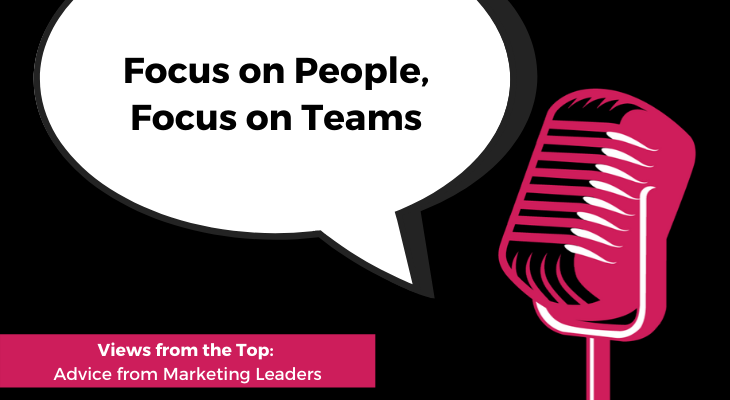 Microphone with speech bubble that says focus on people, focus on teams