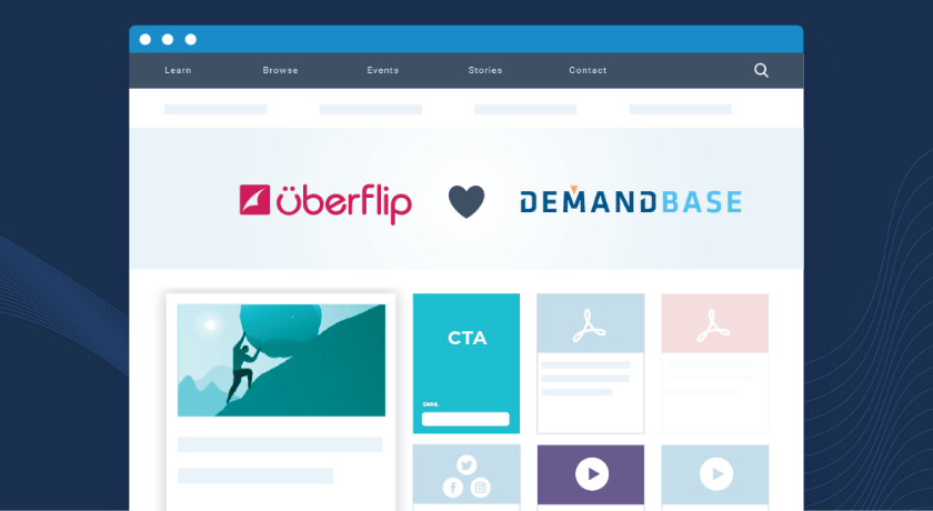 Webpage with Uberflip heart Demandbase on screen