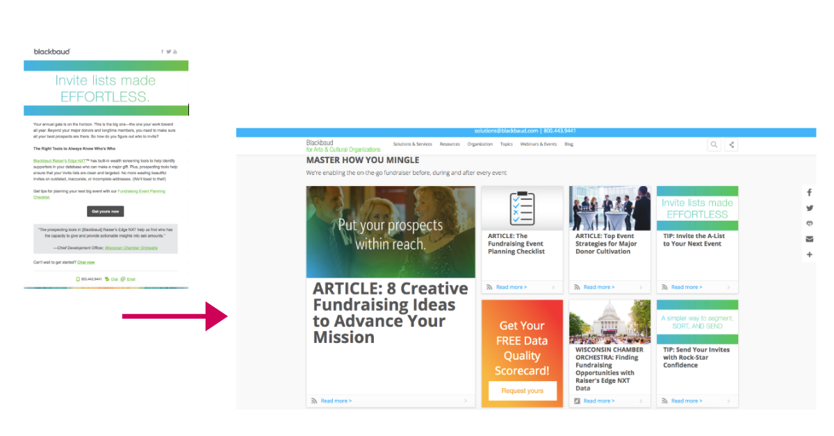 Screenshot of email and arrow pointing to digital content destination