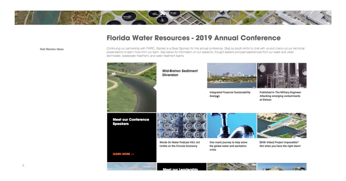 Screenshot of digital content destination about the Florida Water Resources conference