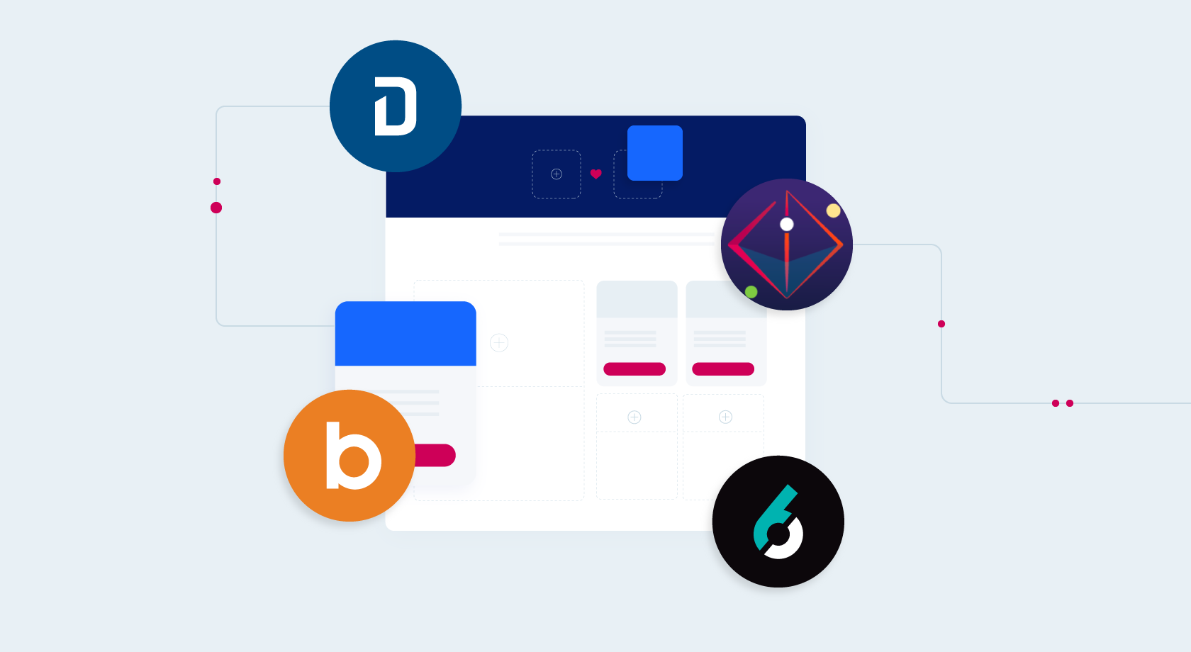 bombora, 6sense, query string, and demandbase apps surrounding an uberflip ABM destination
