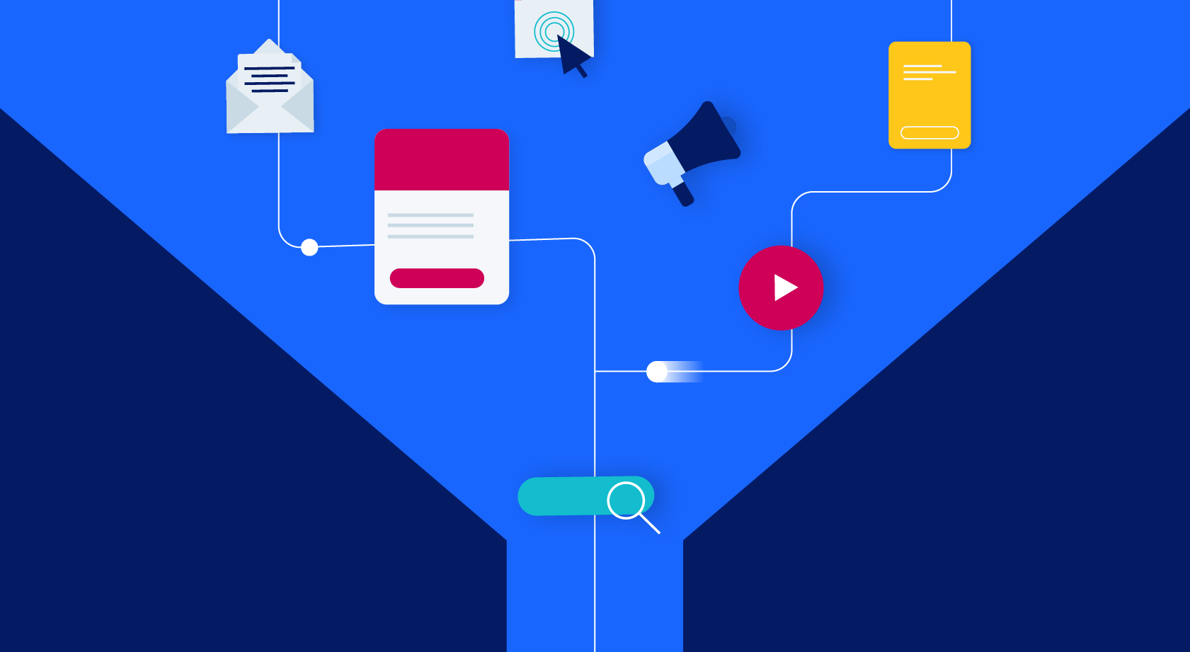 graphic elements representing content in a funnel