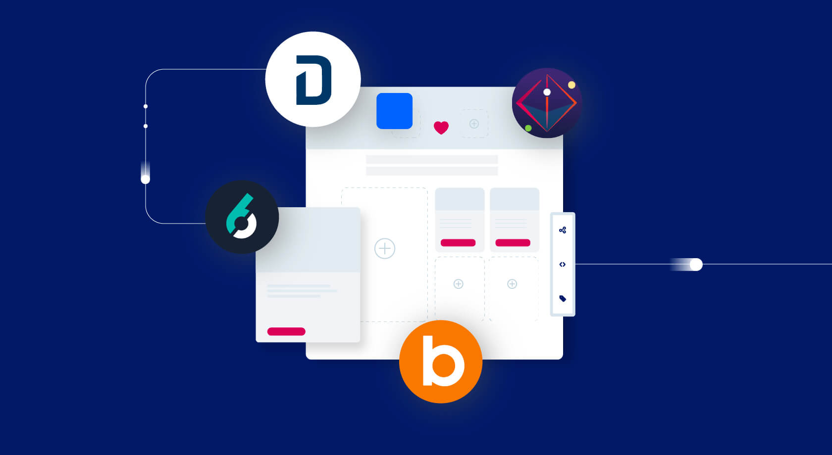 Illustration of various technologies plugging into the Uberflip platform