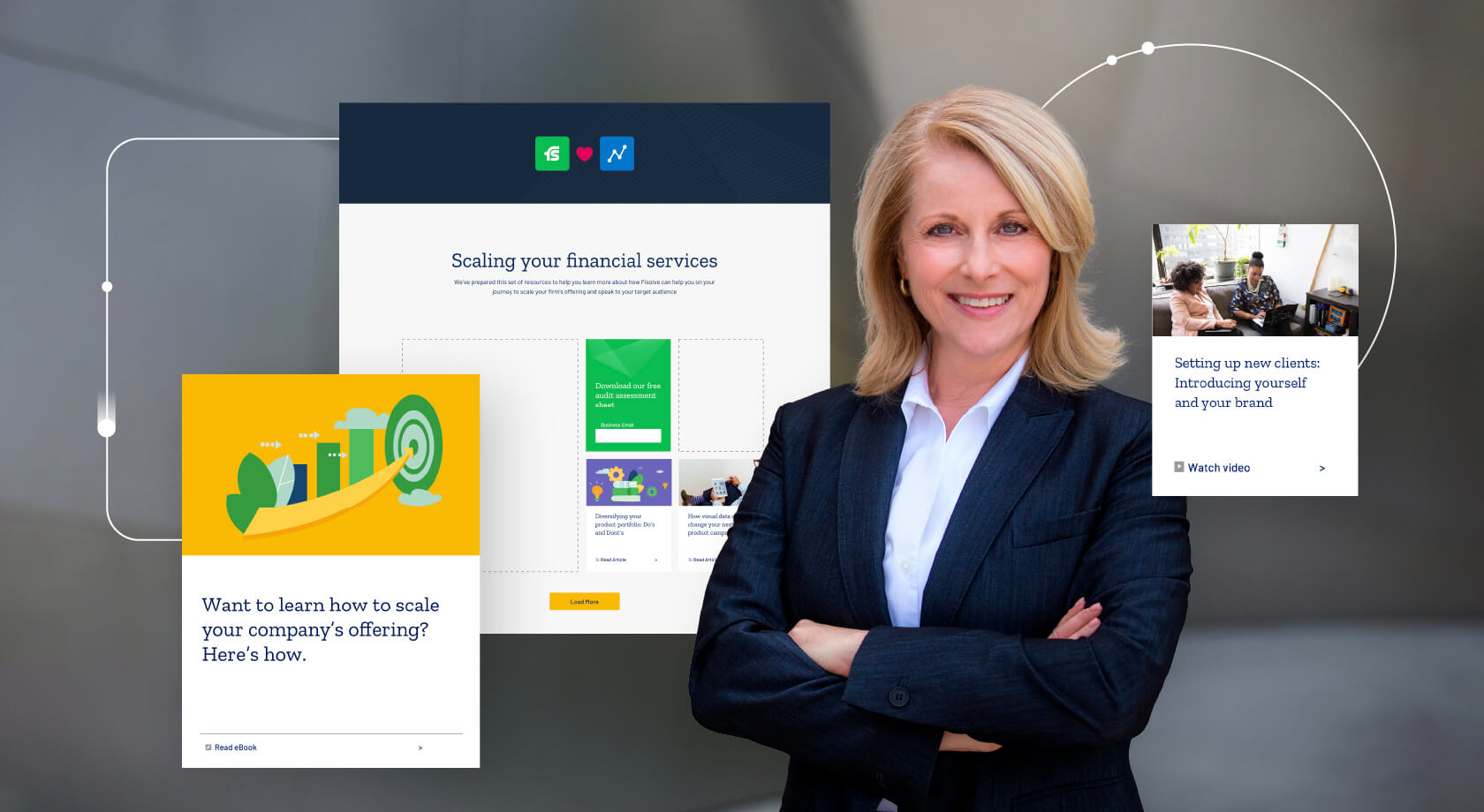 Woman in business attire surrounded by marketing campaign content