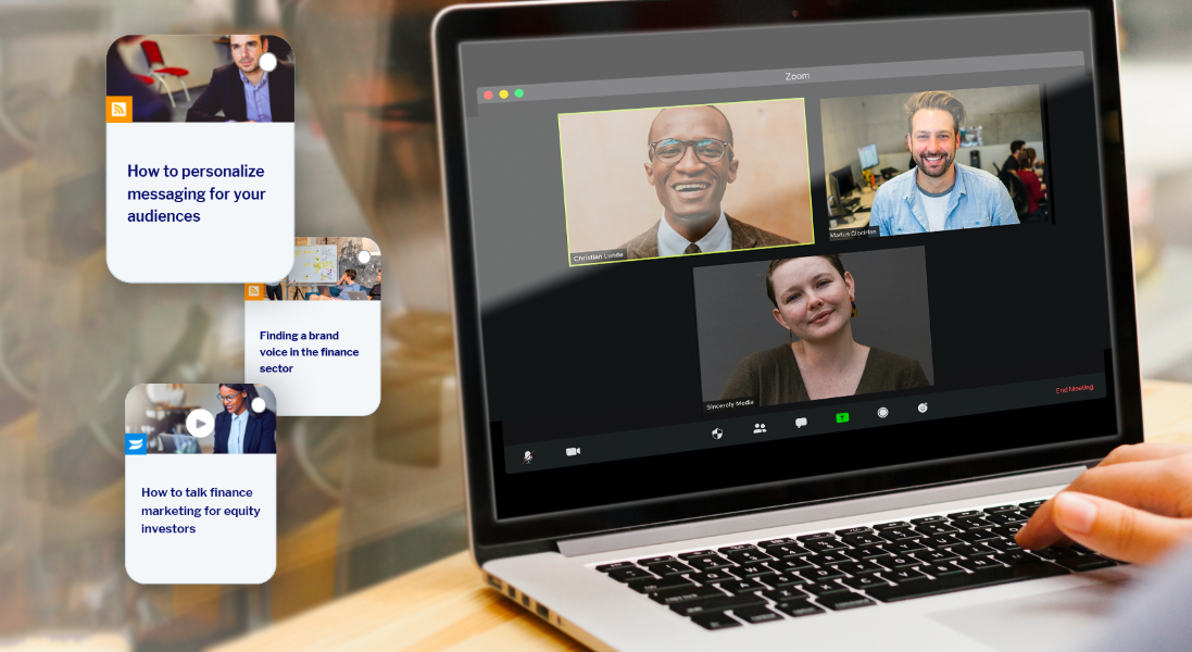 Coworkers on video call with content items appearing alongside them