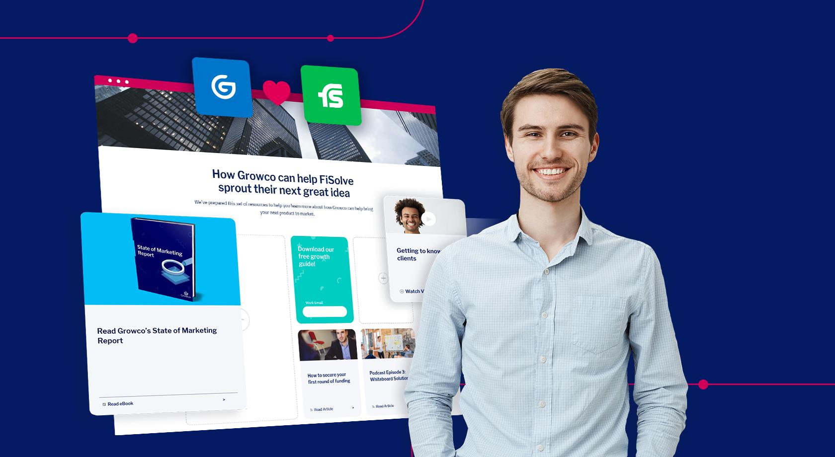 Man in business attire standing in front of Uberflip marketing stream