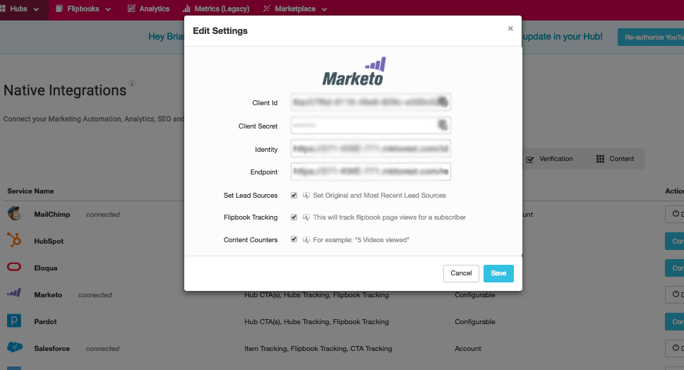 Connecting your hub to Marketo