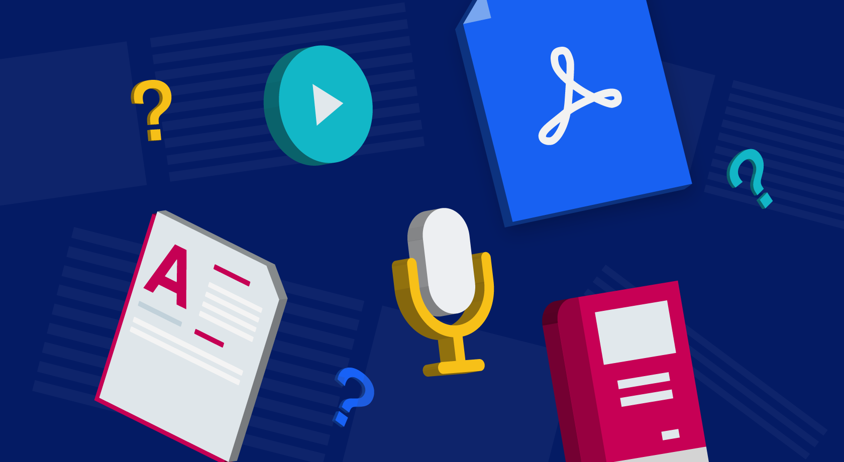 Symbols to represent various pieces of content: PDFs, podcasts, blog posts, video