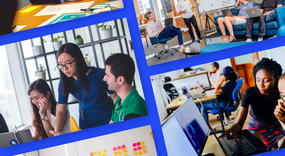 Collage of workplace stock photos