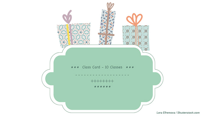 Yoga studio class cards and class series make great gifts