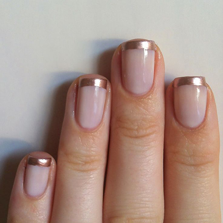 Rose and gold french manicure