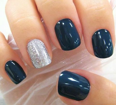 Navy blue manicure with silver glitter accent nail