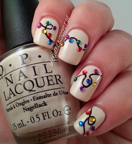 Holiday lights nail art manicure