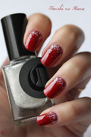 Manicure rub red with silver sparkles