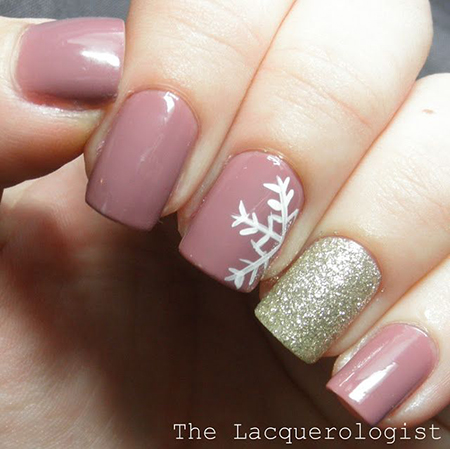 Tea rose polish with white snowflake nail art