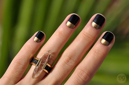 Manicure idea black polish gold accent