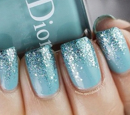 Manicure idea Tiffany blue polish with teal and silver glitter