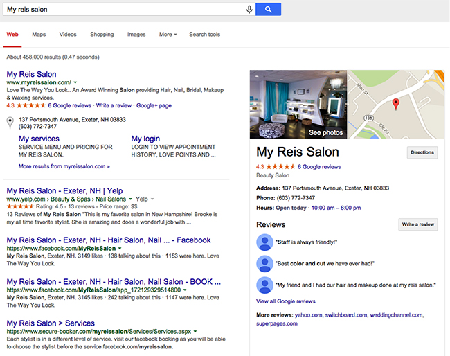 SERP (Google Search Engine Results Page) for a salon