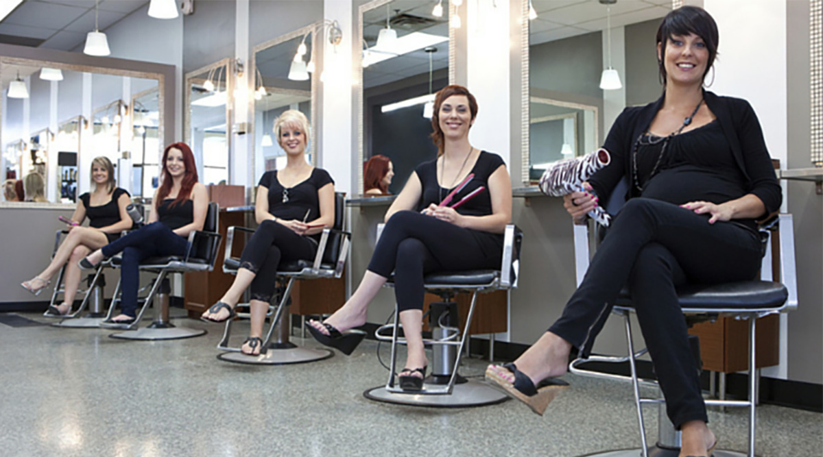 stylists sitting in salon
