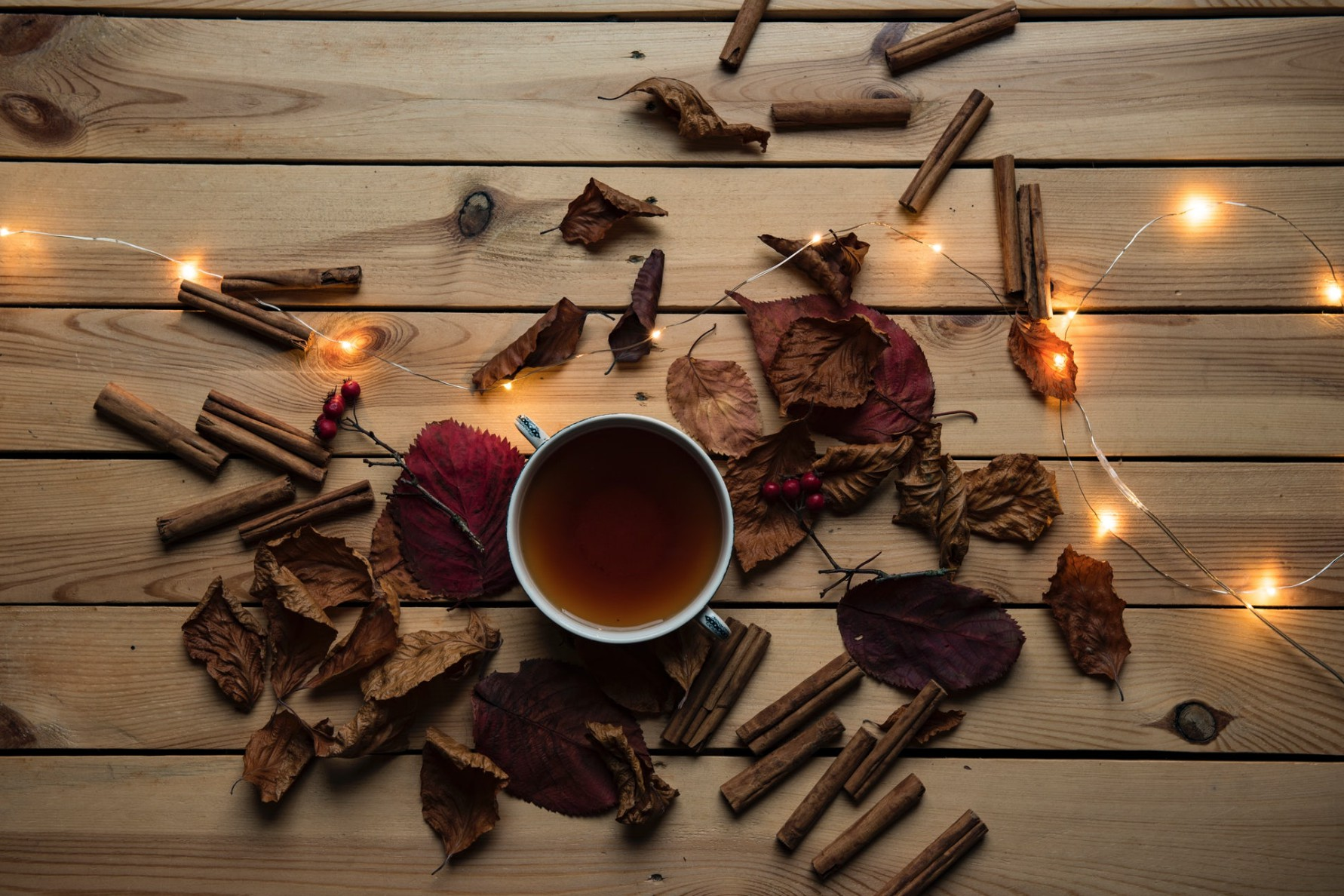 cup of tea with cinnamon sticks