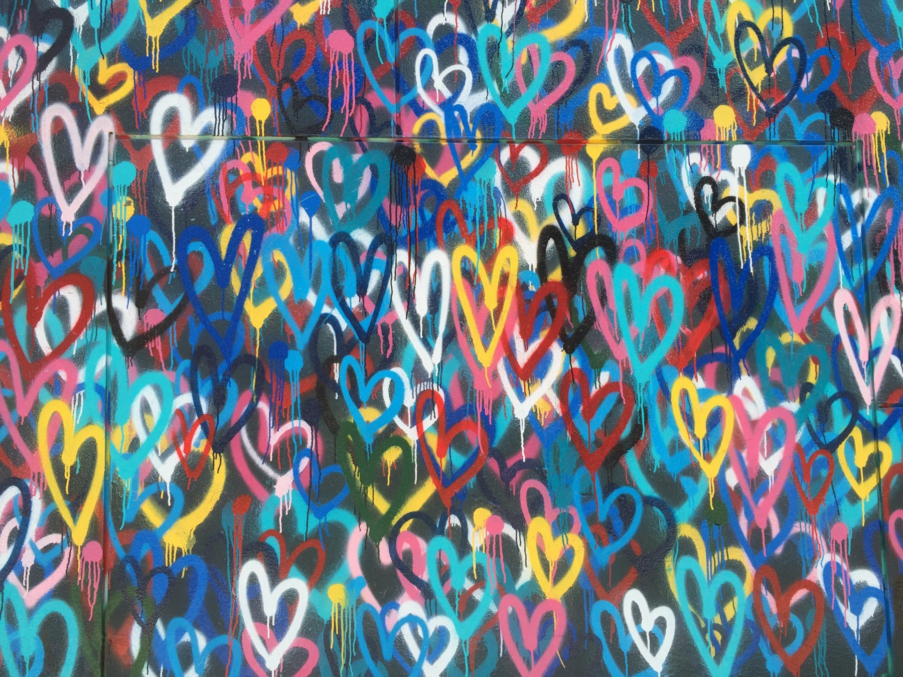 colorful hearts in graffiti
