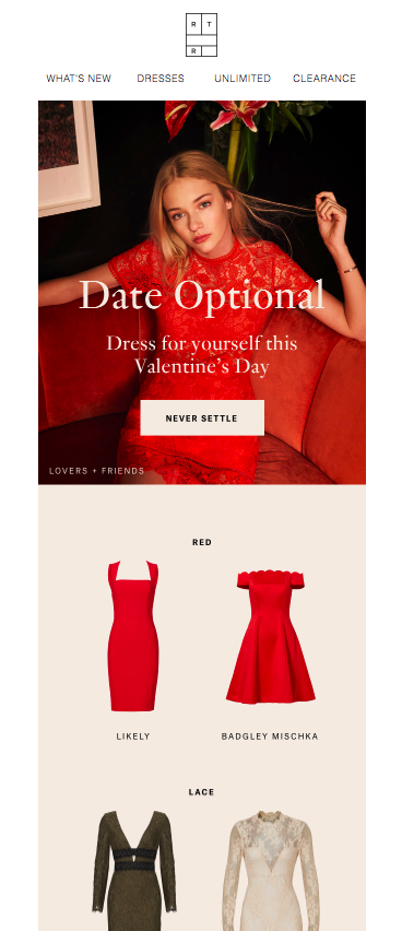 Rent the Runway Valentine's Day Email