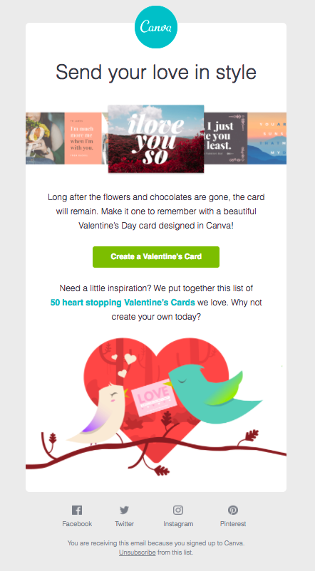 Canva Valentine's Day email