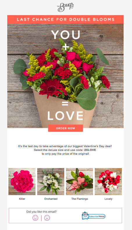 Bouqs ecommerce email example