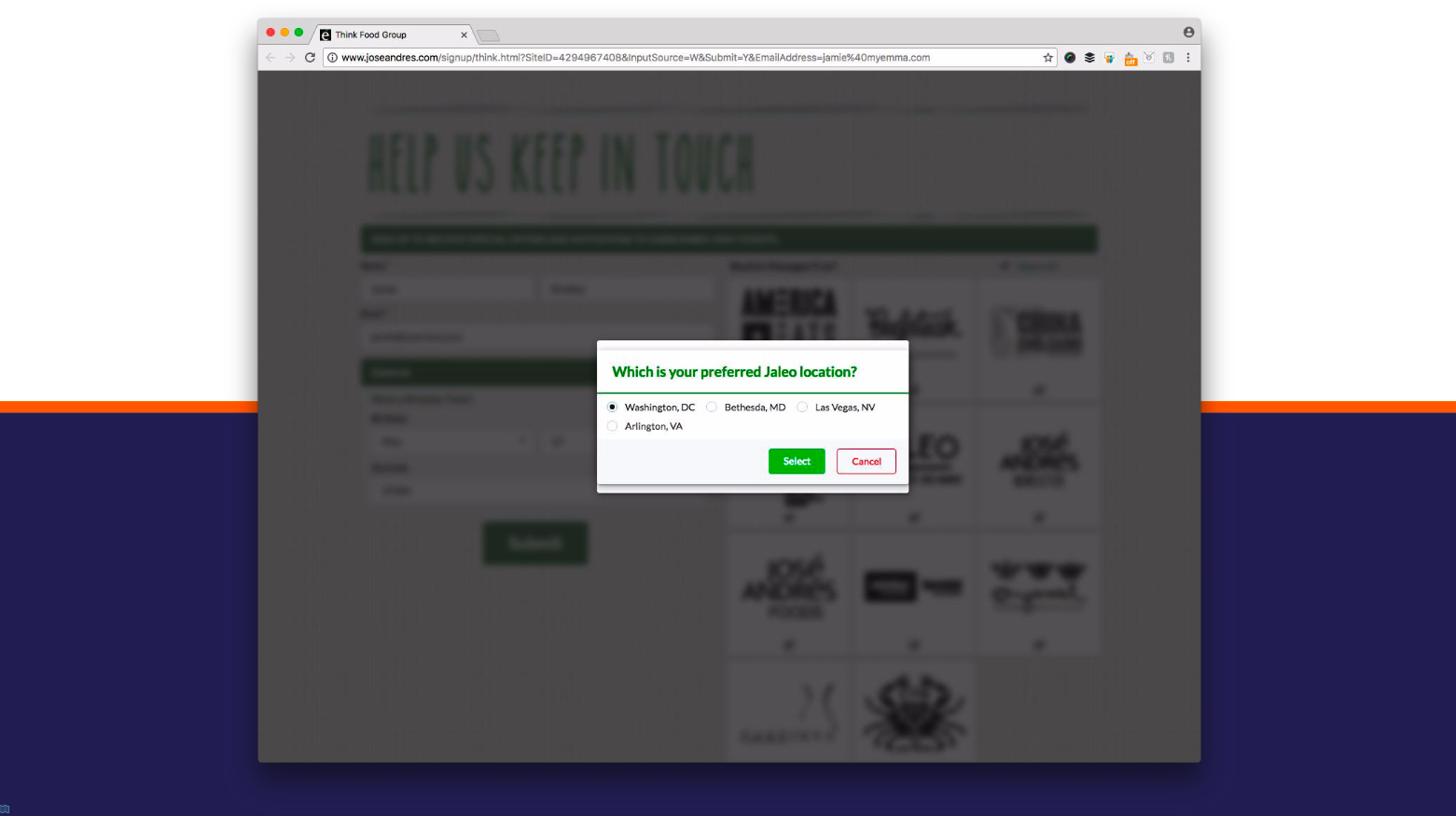 An example of using a signup form to collect subscriber location