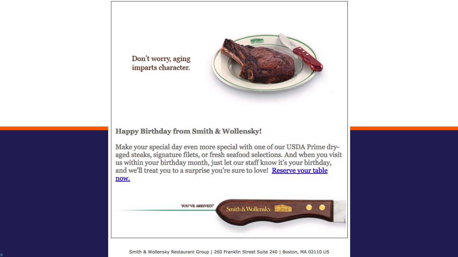 An effective birthday email marketing campaign from a restaurant