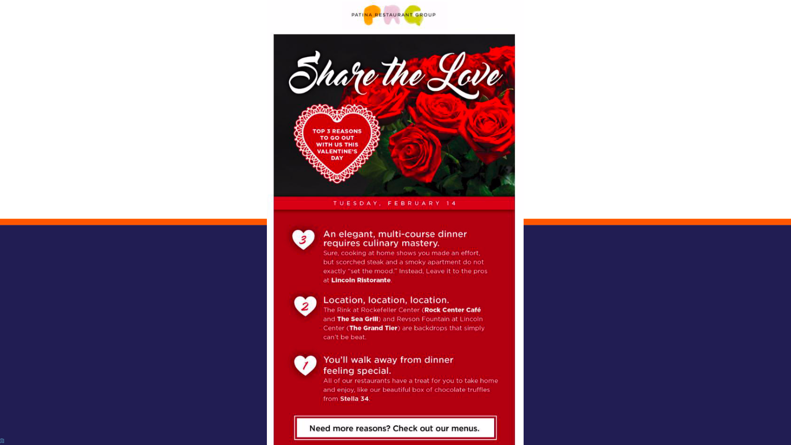 Patina Restaurant Group uses data and email marketing to invite only big spenders to a Valentine's Day event