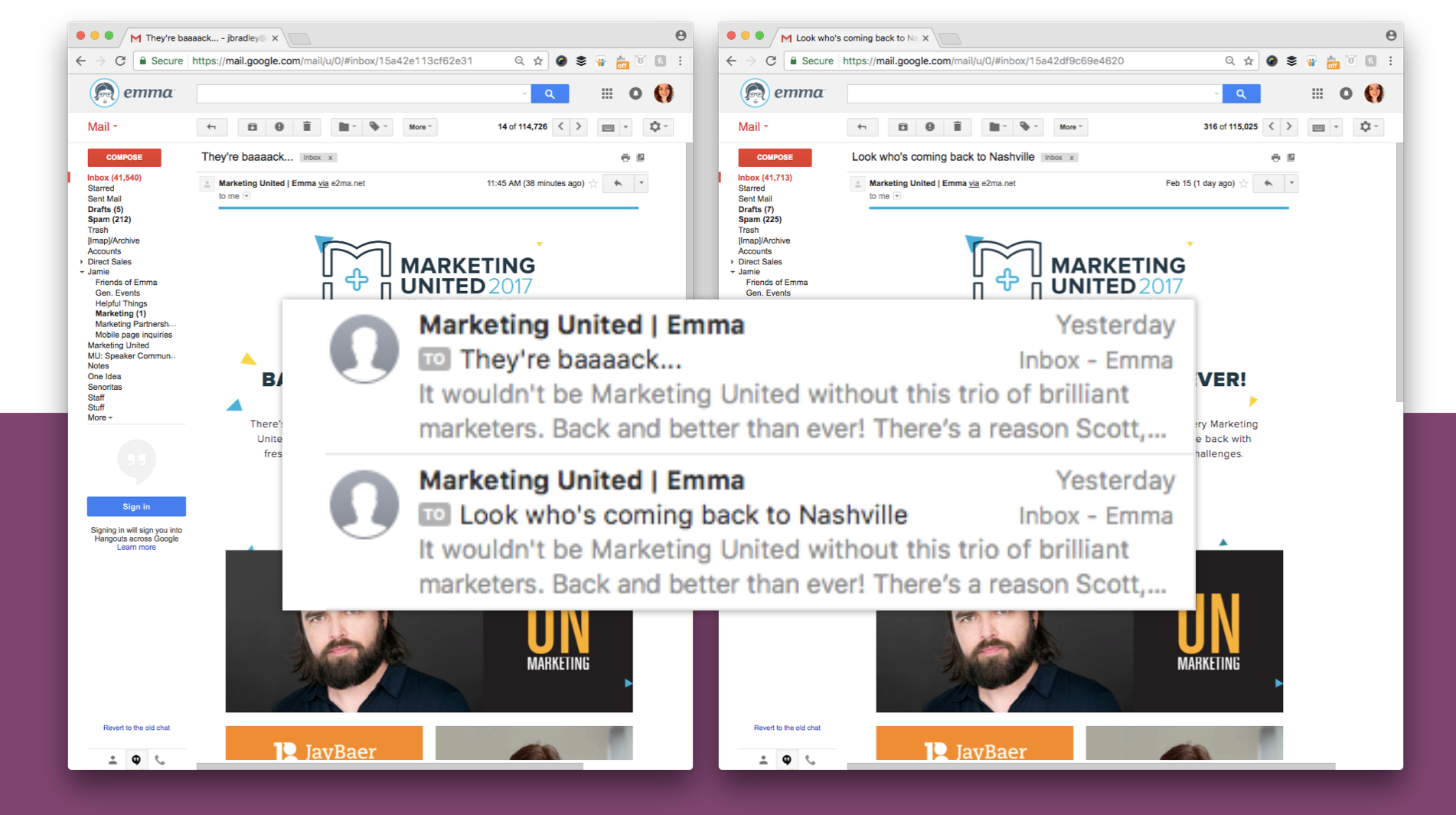 Here, we tried two different subject lines for a Marketing United campaign