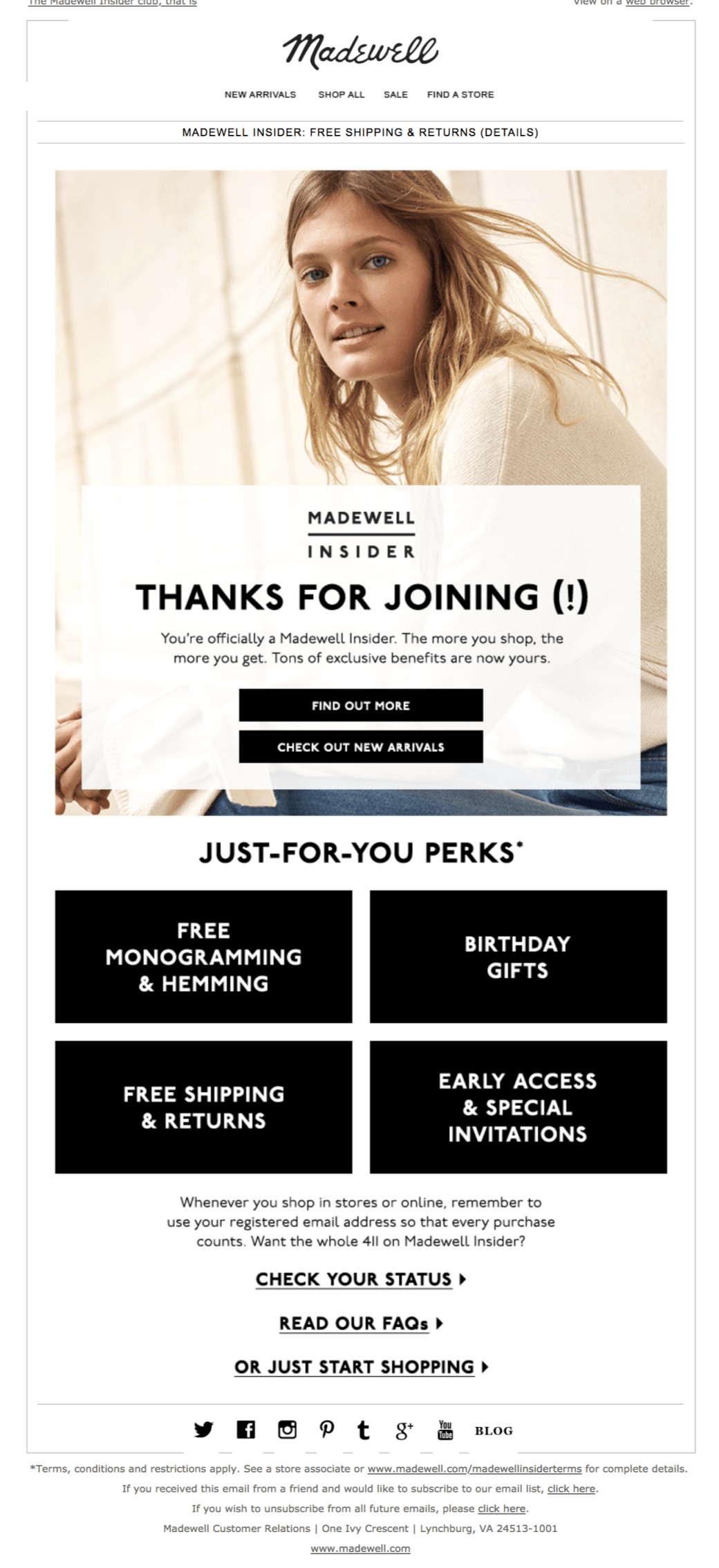 Madewell welcome email example