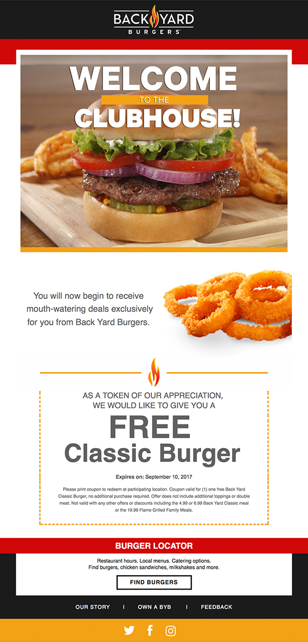 Backyard Burger's – Welcome Email Content